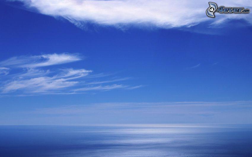 open sea, clouds, blue background