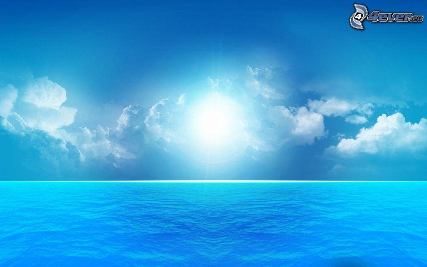 open sea, clouds, sun