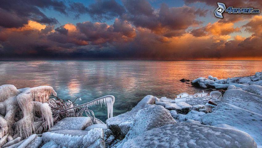open sea, coast, snow