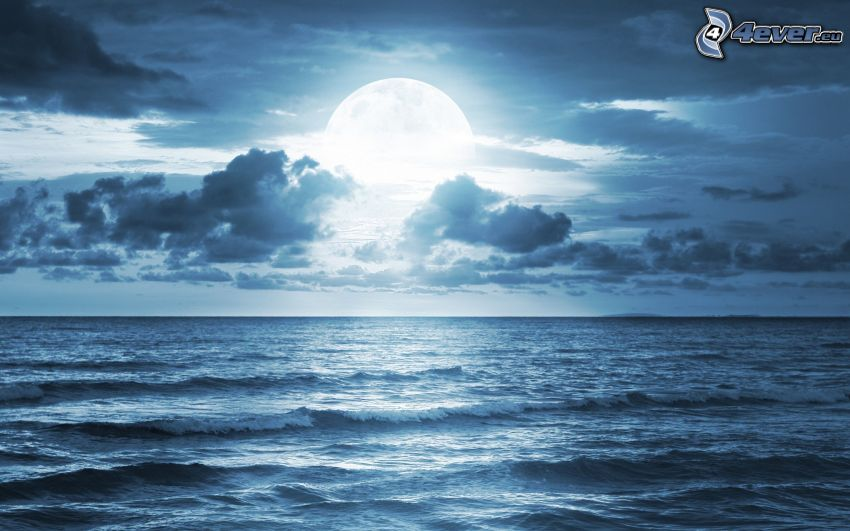 open sea, moon, clouds