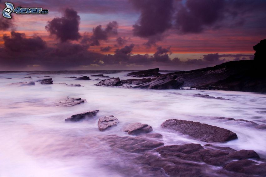 open sea, rocky shores, evening sky