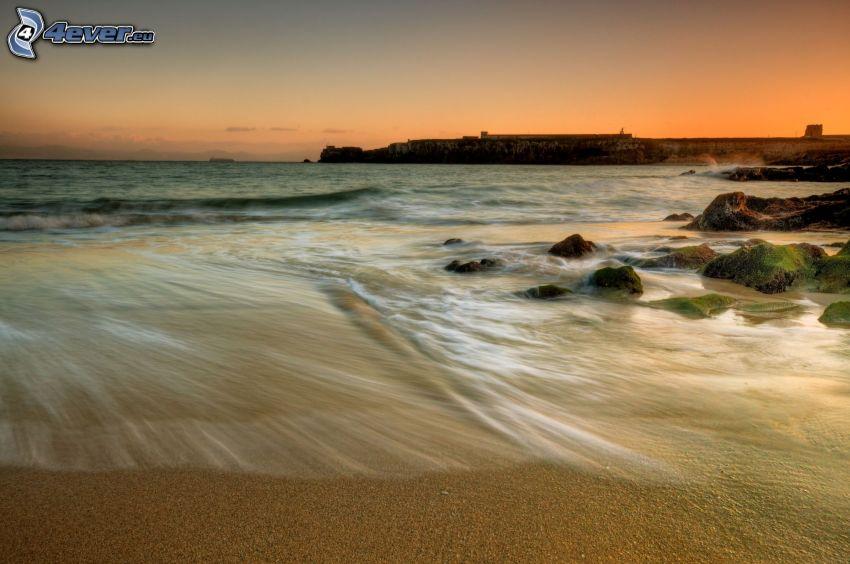 open sea, sandy beach, coast