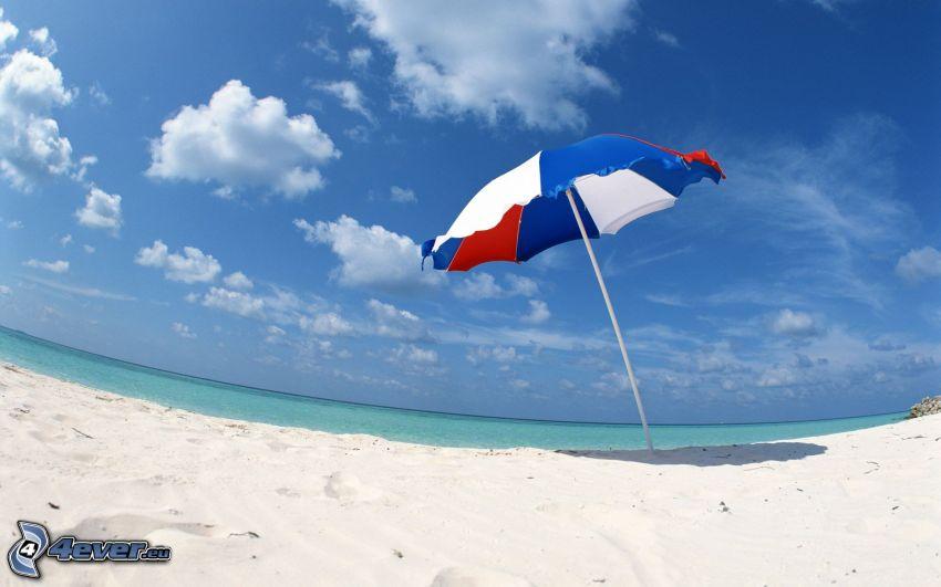 parasol, sandy beach