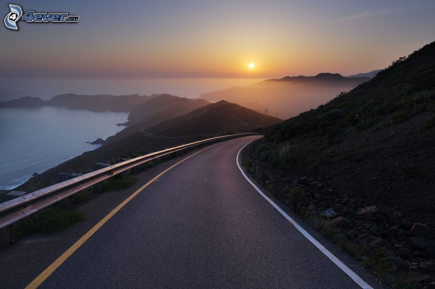 road, hills, sea, sunset