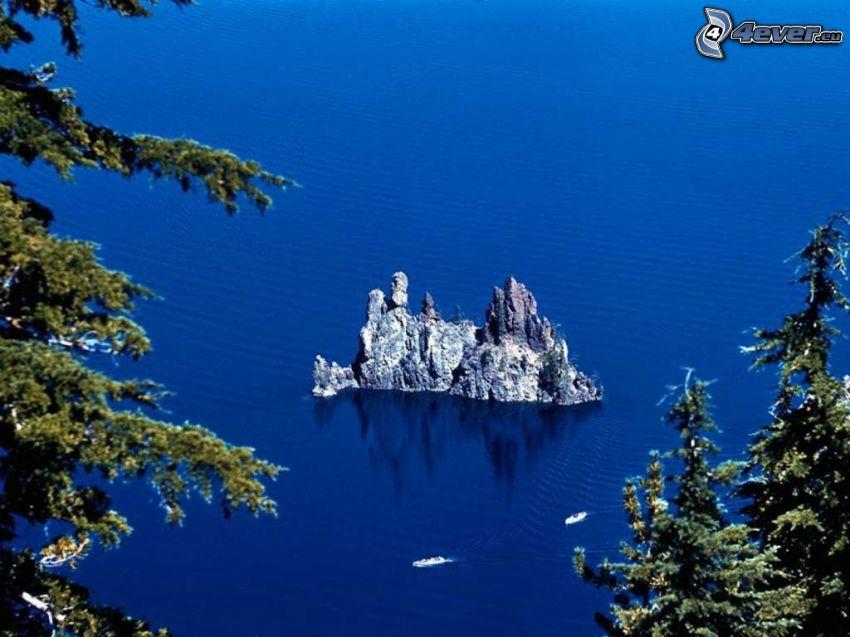 rock in the sea, rocky island, coniferous trees