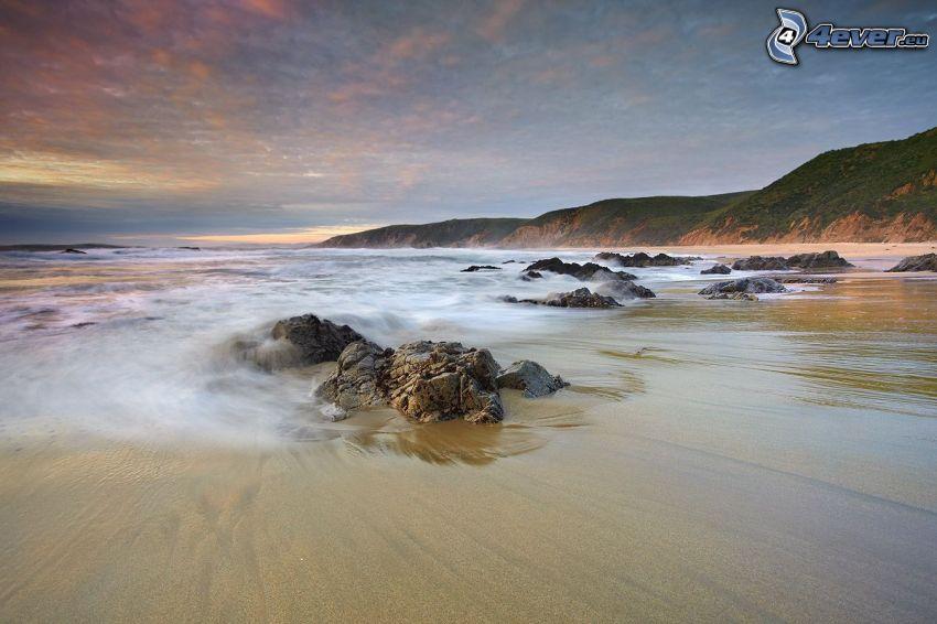 rocky beach, mountain, sea