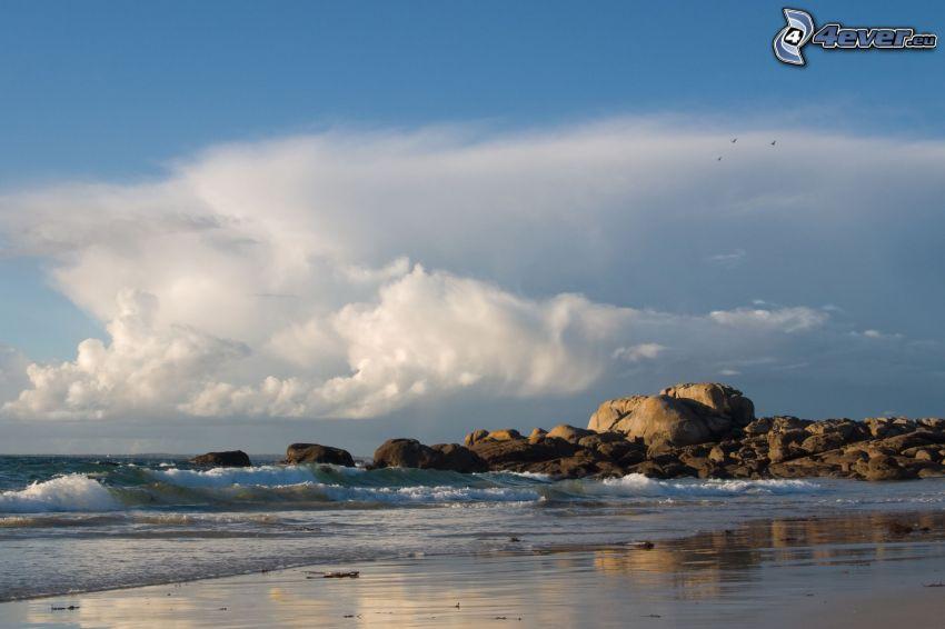 rocky beach, sea, clouds