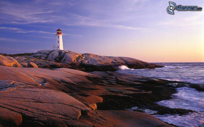 rocky beach, sea, lighthouse, sky