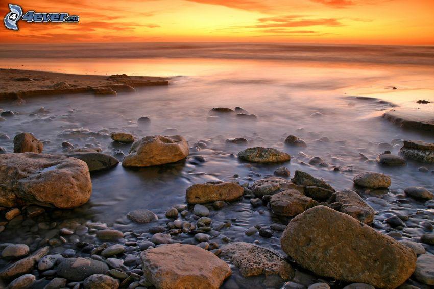 rocky coastline, evening sky