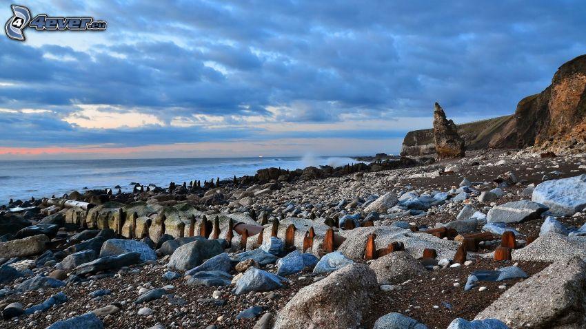 rocky coastline, sea
