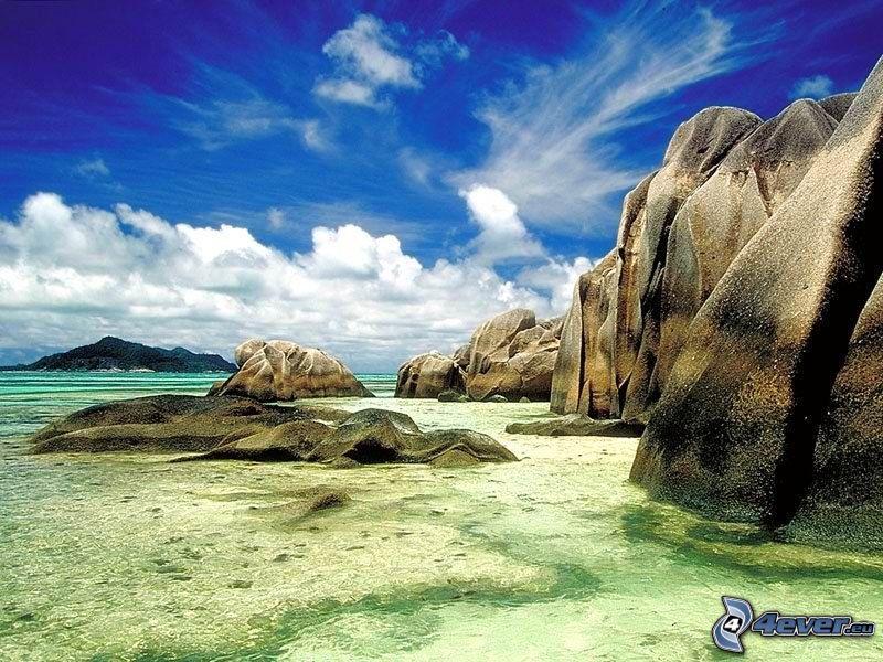 rocky shores, sea, clouds