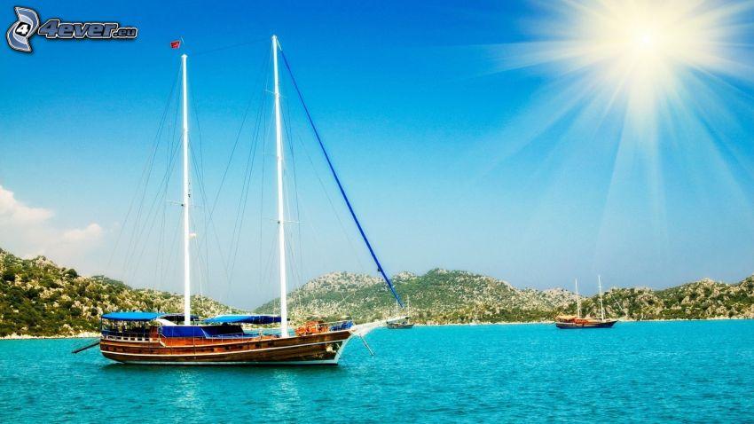 sailing boat, azure sea, sun
