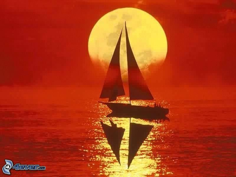 sailing boat, sea, moon, red