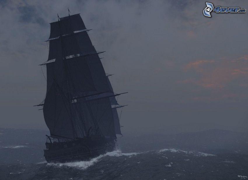 sailing boat, stormy sea