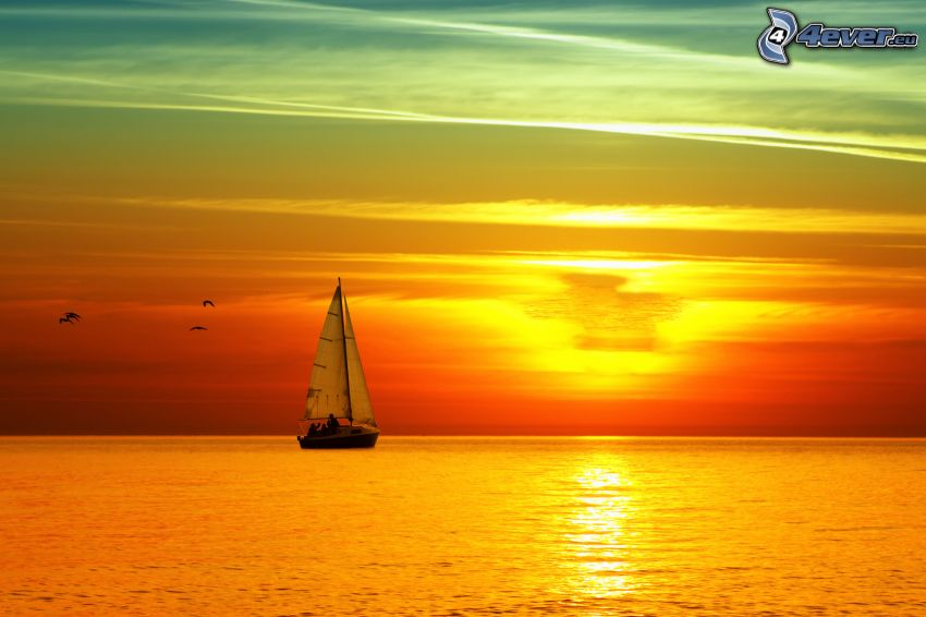 sailing boat, sunrise at sea
