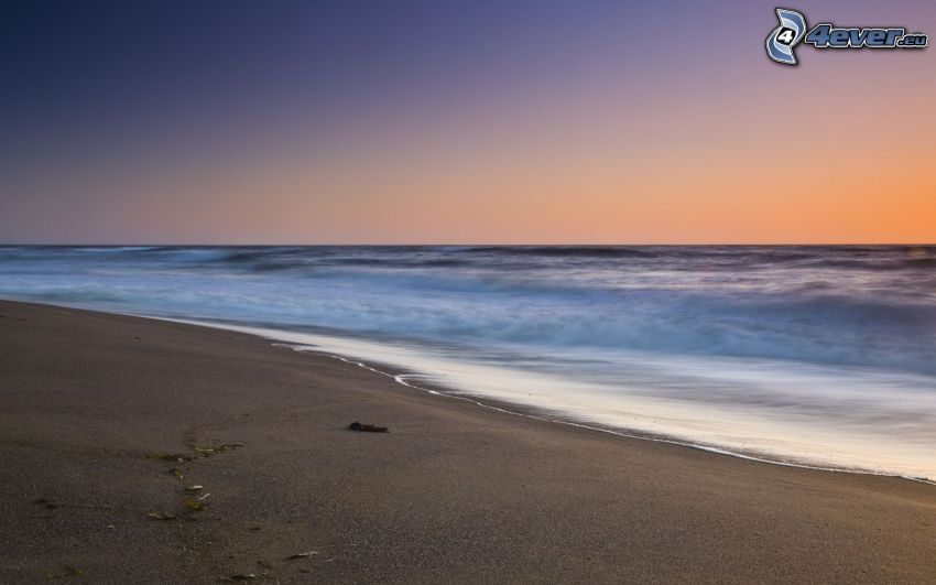 sandy beach, sea, evening sky