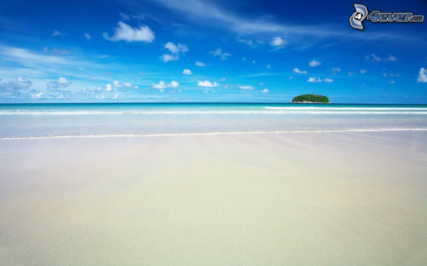sandy beach, sea, island, blue sky