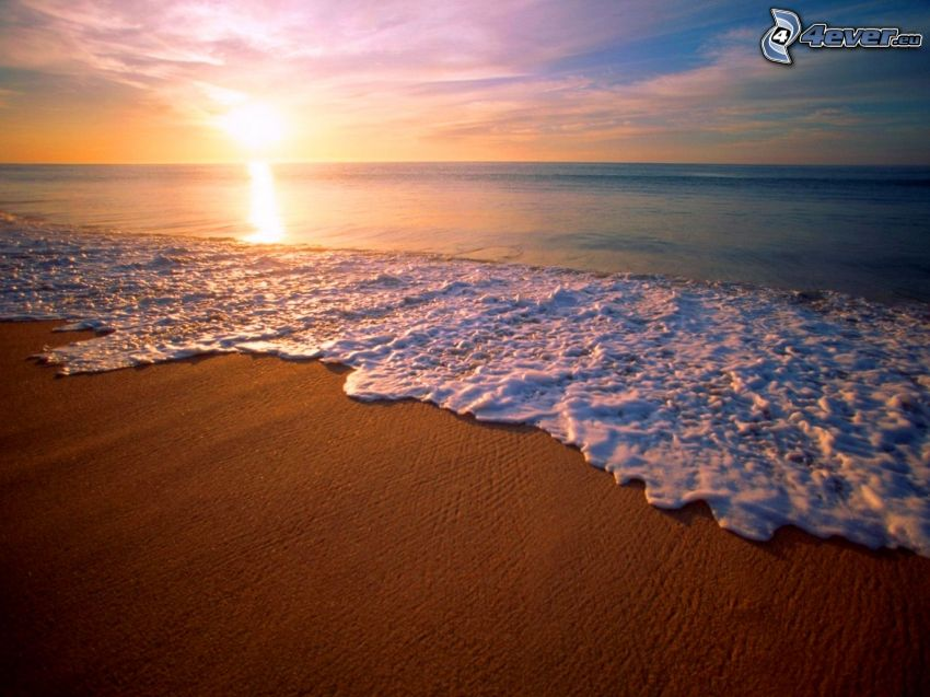 sandy beach, sea, sunrise