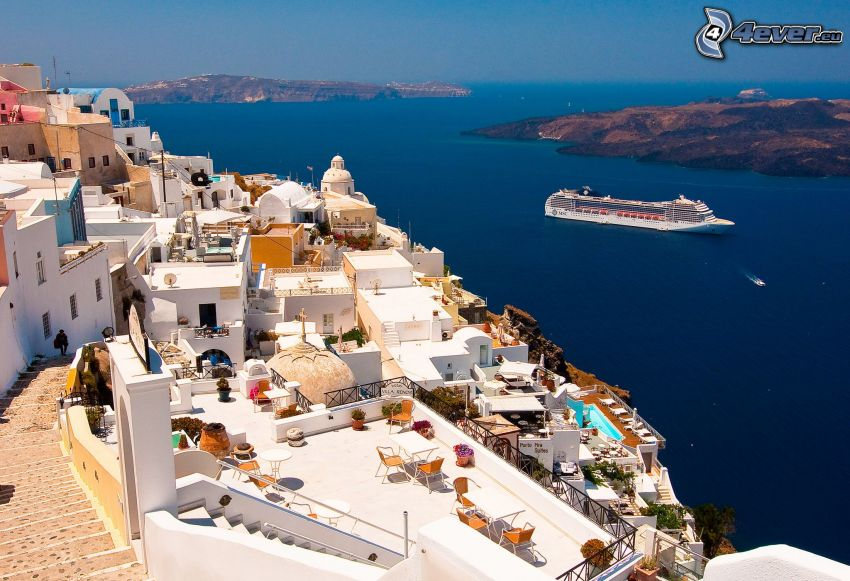 Santorini, seaside town, ship, sea, islands