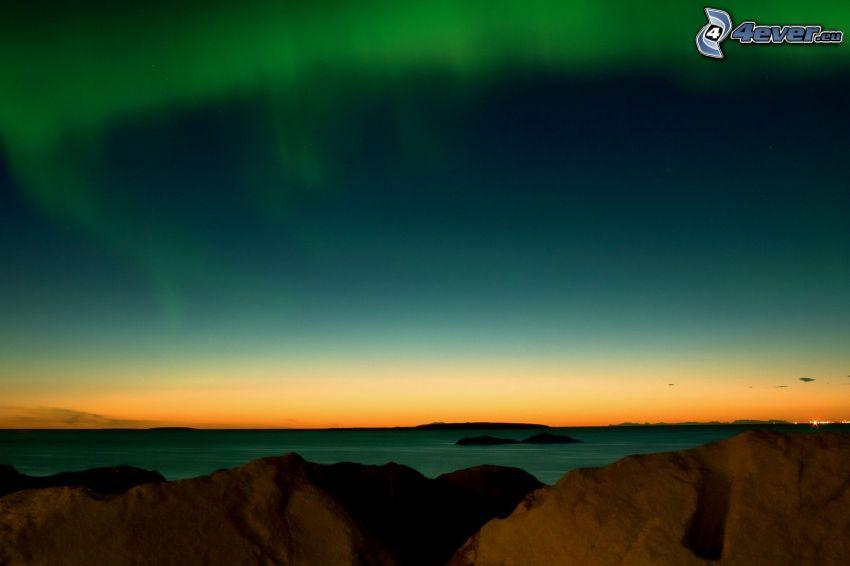 sea, aurora, rocks