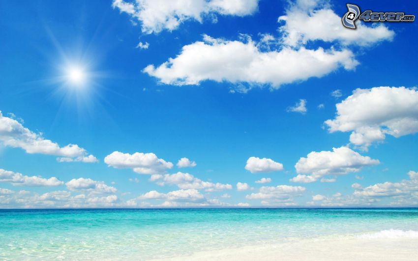 sea, beach, clouds, sun