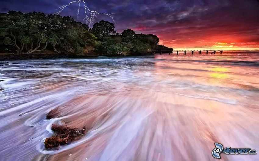 sea, beach, pier, lightning