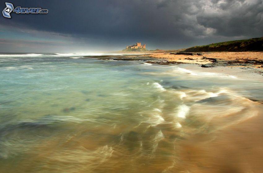 sea, castle, clouds