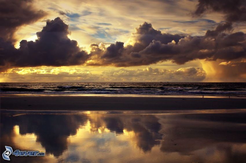 sea, clouds, evening