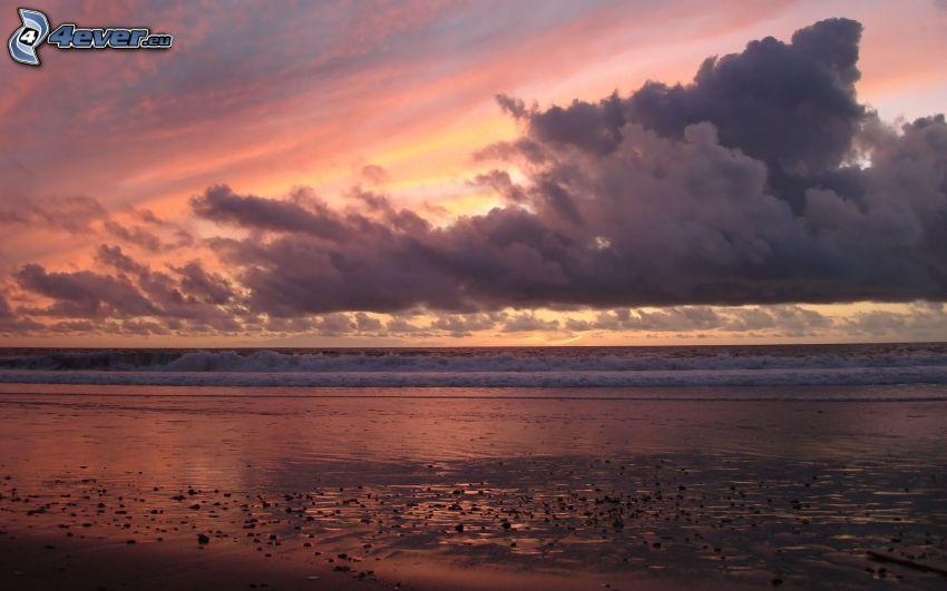 sea, coast, clouds, sky