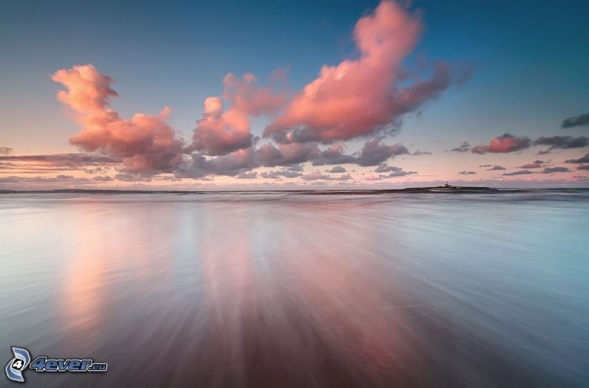 sea, coast, clouds