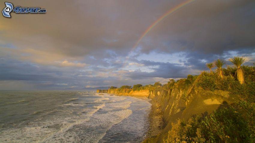 sea, coast, greenery, rainbow