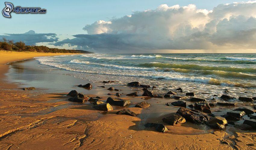 sea, coast, rocks, clouds