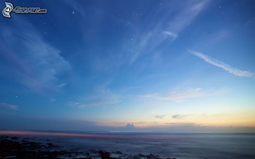 sea, evening sky