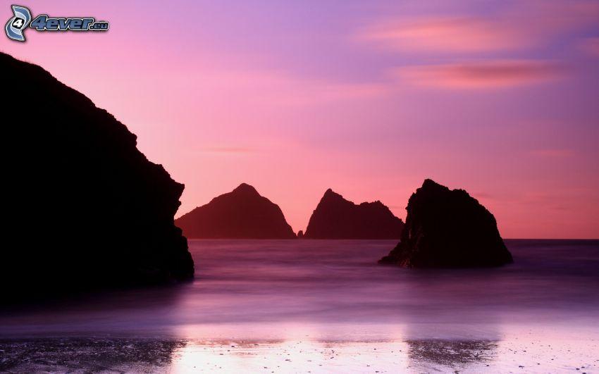 sea, islands, purple sky