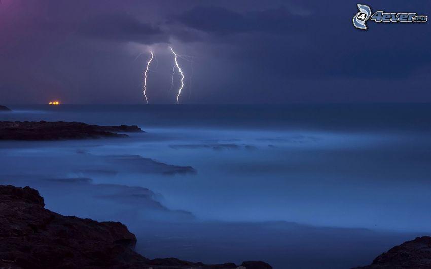 sea, lightning, rocky shores