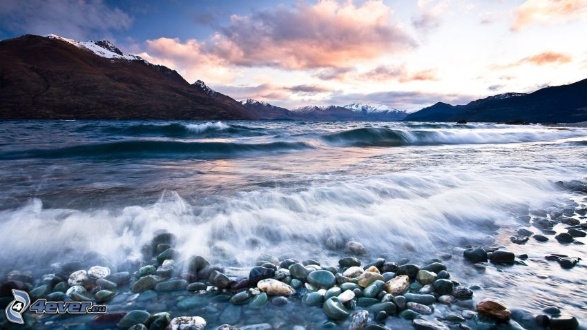 sea, mountain, gravel