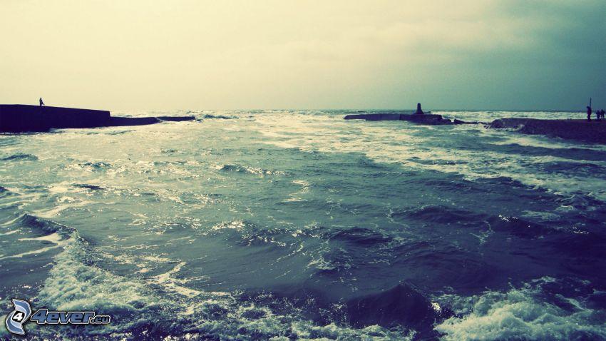 sea, pier