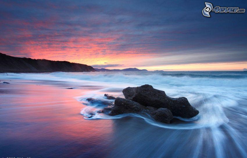 sea, rocks, coast, evening sky