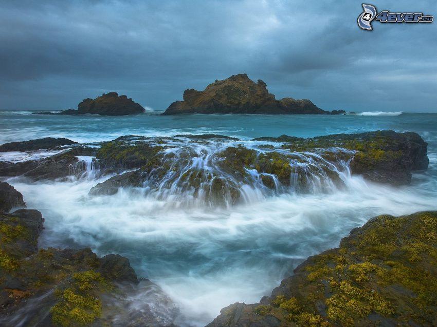 sea, rocks, island, waterfall