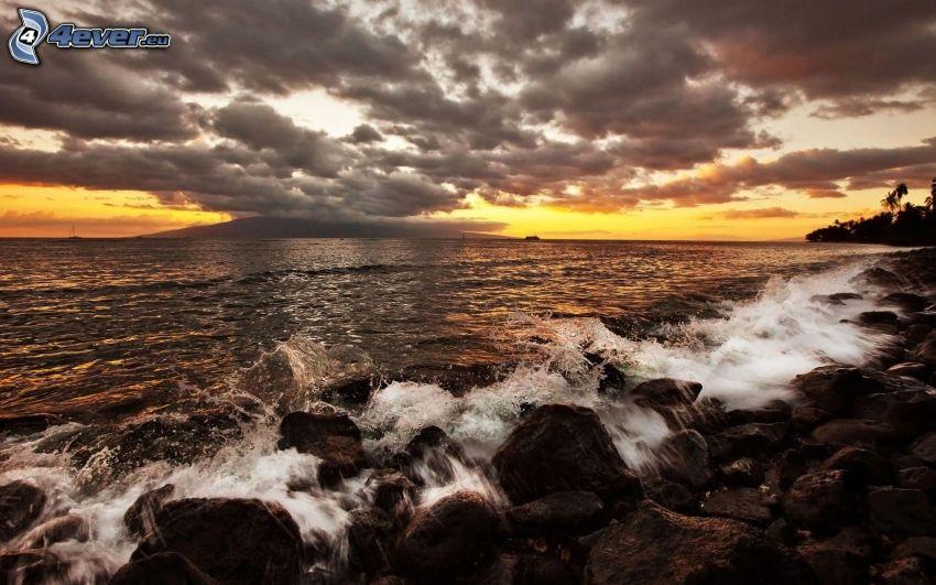 sea, rocky beach, clouds