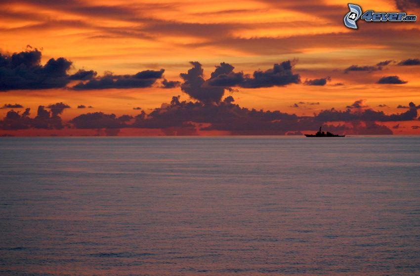 sea, sky, clouds, ship