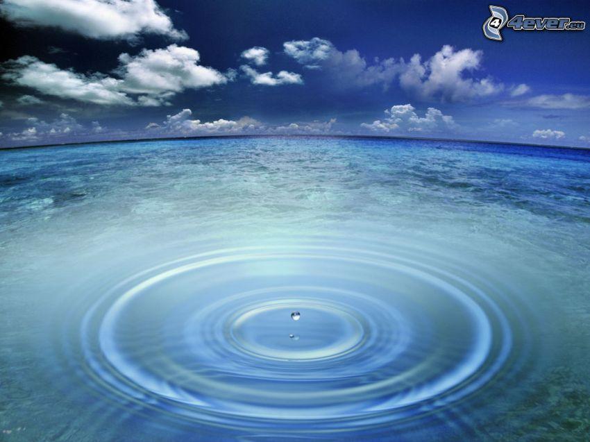 sea, splash, clouds