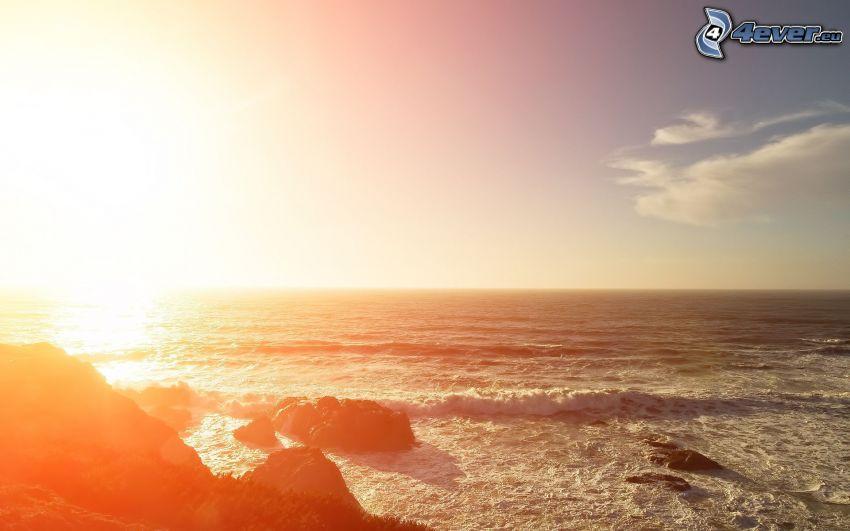 sea, sun, glow, rocky coastline