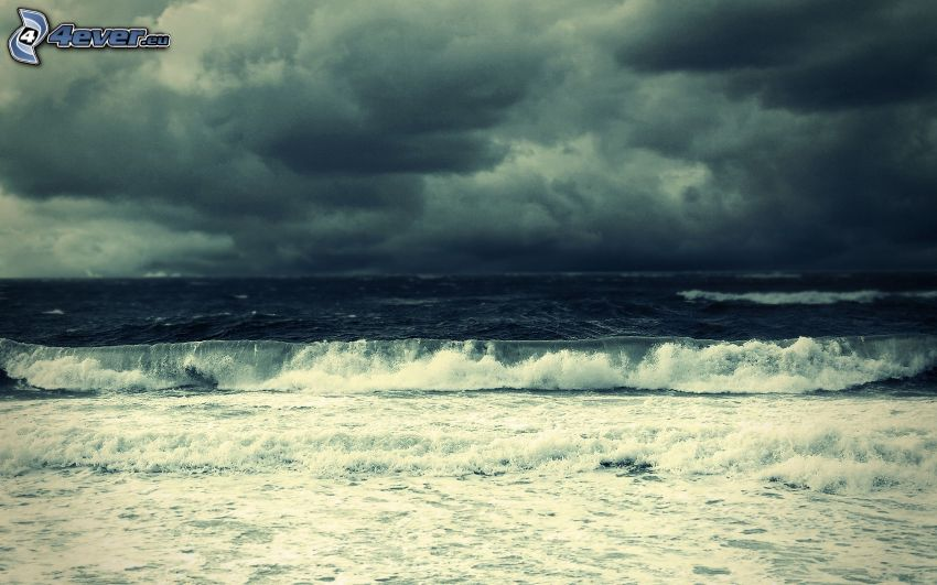 sea, wave, storm clouds