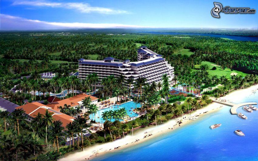 seaside town, hotel