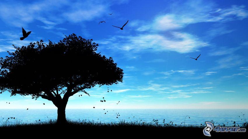 silhouette of tree, sea, birds