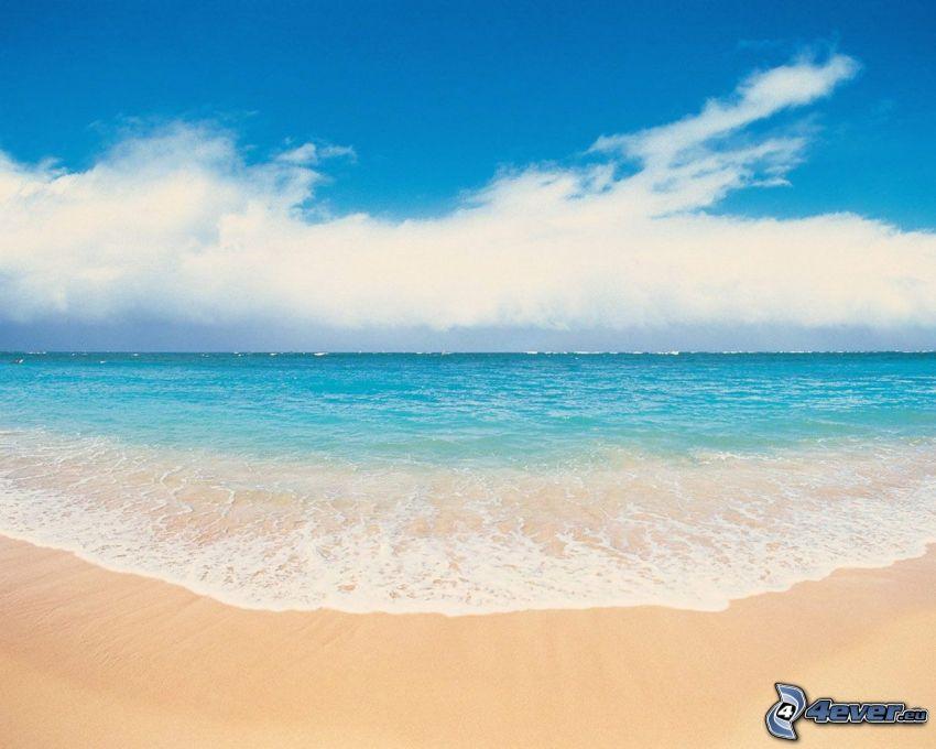 sky, sea, ocean, beach, sand, cloud, water