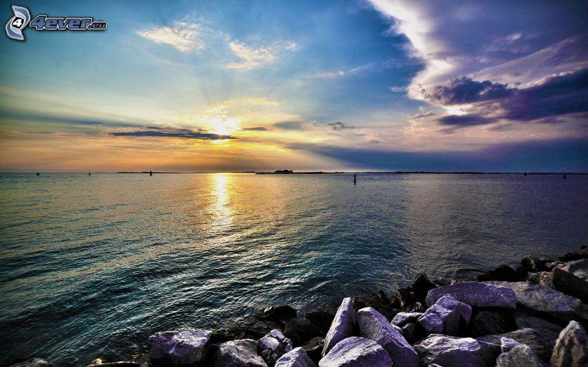 sunrise, sea, rocky shores