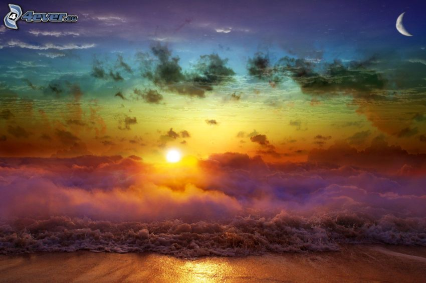 sunset behind the sea, clouds, beach, moon