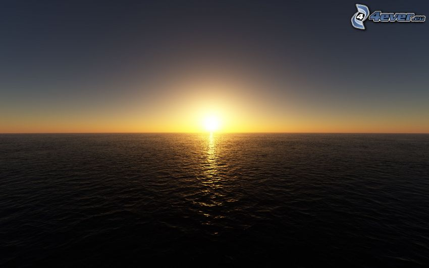 sunset behind the sea